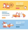 Banners set with linear Icons of logistics vector image