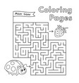 cartoon ladybug maze game vector image