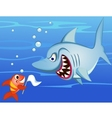 shark and small fish vector image vector image