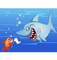 shark and small fish vector image