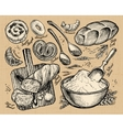 bakery bread hand drawn sketches of food vector image