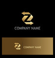 arrow letter z gold company logo vector image