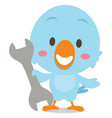 character blue bird with tools vector image