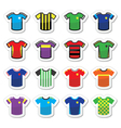 Football or soccer jerseys colorful icons set vector image