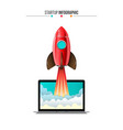 rocket flying from laptop vector image