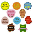 set of ten badges with ribbons vector image