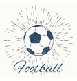 soccer ball and vintage sun burst frame vector image