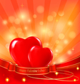 two red hearts background vector image
