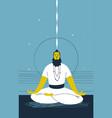 Male yogi with beard sits cross legged and vector image