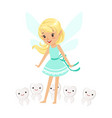 beautiful sweet blonde tooth fairy girl standing vector image