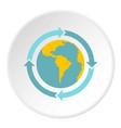 globe with blue arrows icon circle vector image vector image