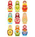 set of nine colorful nesting dolls vector image