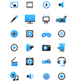 Turquoise black multimedia icons set vector image