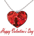 Valentines Day heart pendant on white background vector image