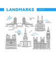 world famous landmarks - line design icons set vector image