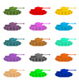 Set multicolored Tanks Military equipment on white vector image