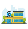 cartoon gym fitness building vector image