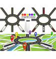 a set of roads with a circular motion markers on vector image