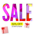 holiday sale with gift advertising banner on vector image