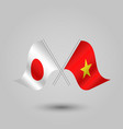 Two crossed japanese and vietnamese flags vector image