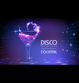 neon disco cocktail party background vector image