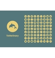 Set of veterinary simple icons vector image