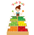 Female Shopkeeper With A Lot Of Fruits In Shop vector image