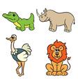 animals set krokodile lion ostrich rhinoceros vector image