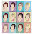 Colorful emotion faces icons set avatars doodles vector image