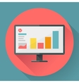Flat style icon of wide angle monitor with vector image