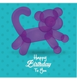happy birthday to you card with balloon cat shape vector image
