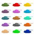 Set multicolored Tanks Military equipment on white vector image