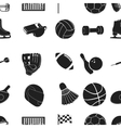 Sport and fitness pattern icons in black style vector image