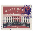 postage stamp with white house in washington dc vector image vector image