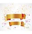 Celebration background with ribbon and confetti vector image