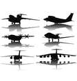 Aircrafts silhouettes vector image vector image