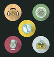 music flat icon design set vector image