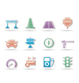 navigation and traffic icons vector image vector image