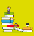 students and books vector image