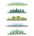Colorful hand drawn landscapes with trees vector image