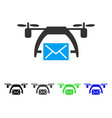 Drone mail flat icon vector image