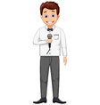 funny host cartoon holding a microphone vector image