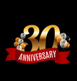 golden 30 years anniversary template with red vector image