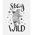 Hand drawn dancing bear sketch with stylish vector image