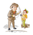 man teaching a boy how to fish vector image