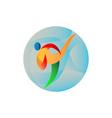 Taekwondo Fighter Kicking Circle Retro vector image