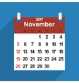 Leaf calendar 2017 with the month of November days vector image