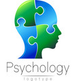 Modern head puzzle logo of Psychology Profile vector image