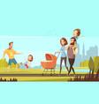 family outdoor retro cartoon vector image