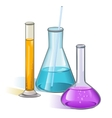 Laboratory flasks glassware concept vector image
